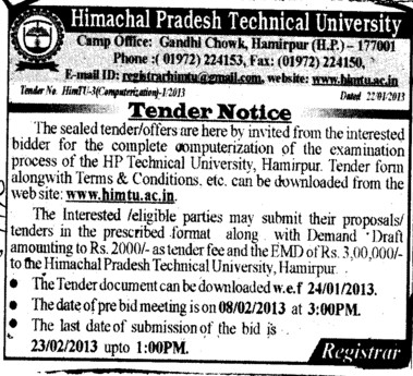 Computerization of Examination (Himachal Pradesh Technical University HPTU)