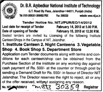 Night Canteens and Vegetable shop etc (Dr BR Ambedkar National Institute of Technology (NIT))