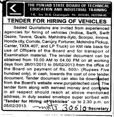 Hiring of Vehicles (Punjab State Board of Technical Education (PSBTE) and Industrial Training)