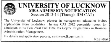 Degree Programme in Administration Management (Lucknow University)