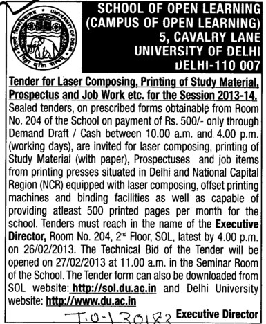 Printing of study material (Delhi University)