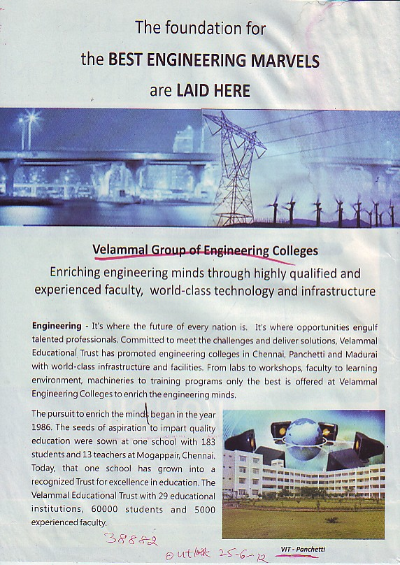 Foundation for best Engg. Marvels (Velammal Institute of Technology)
