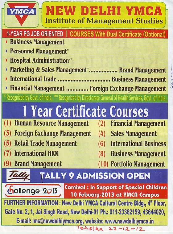 Certificate Course in Business Management and Sales Management etc (ND YMCA Institute Of Management)