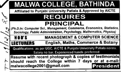 Principal, HoDs and Lecturer (Malwa College (earlier RCMT))