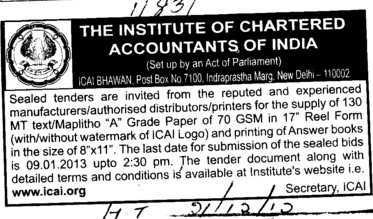 Supply of A Grade Paper (Institute of Chartered Accountants of India (ICAI))