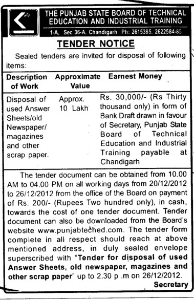 Disposal of used answersheets (Punjab State Board of Technical Education (PSBTE) and Industrial Training)