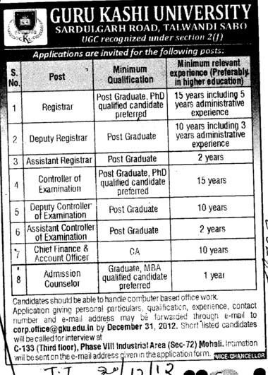Registrar, DR and Admission Counsellor etc (Guru Kashi University)