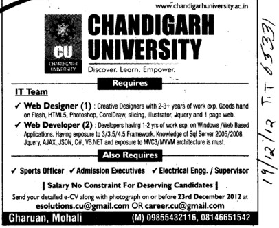Web Designer and Web Developer (Chandigarh University)