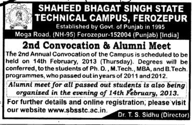 2 nd Convocation and Alumni Meet (Shaheed Bhagat Singh State (SBBS) Technical Campus)