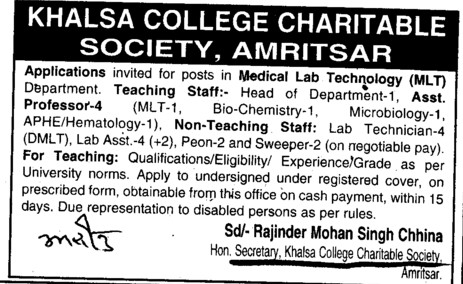 Asstt Professor and Lab Technician etc (Khalsa College Charitable Society Group)