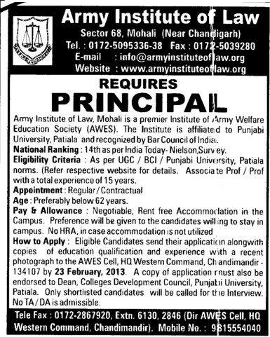 Principal on regular basis (Army Institute of Law)