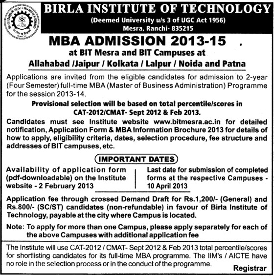 MBA Programme 2013 2015 (Birla Institute of Technology (BIT Mesra))
