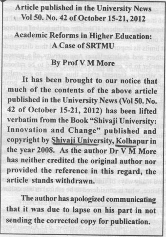Plagiarism by Professor V M More (Shivaji University)