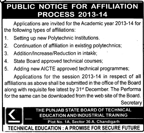 Affiliation Process 2013 2014 (Punjab State Board of Technical Education (PSBTE) and Industrial Training)