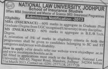 MBA and MS Courses (National Law University (NLU))