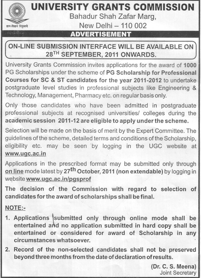 PG Scholarship for Professional courses (University Grants Commission (UGC))