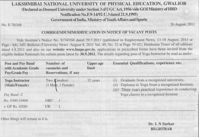 Yoga Instructor (Lakshmibai National University of Physical Education (LNUPE))