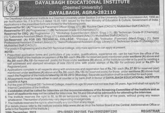 Programmer, Principal, Instructor and Technician etc (Dayalbagh Educational Institute Deemed University)