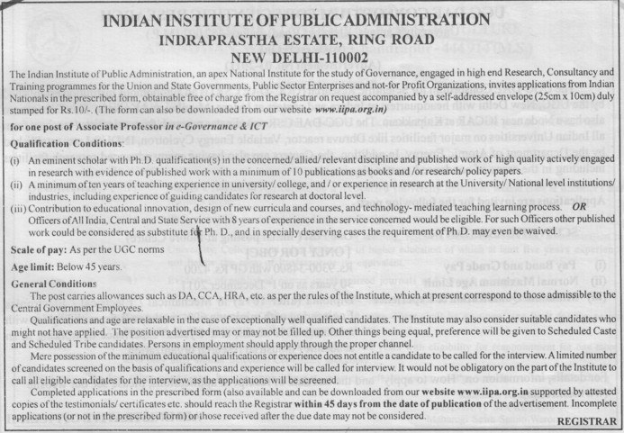 Associate Professor (Indian Institute of Public Administration (IIPA))