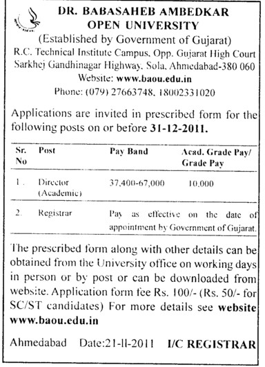 Director and Registrar (Dr Babasaheb Ambedkar Open University)