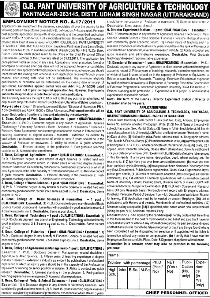 Director (Govind Ballabh Pant University of Agriculture and Technology GBPUAT)