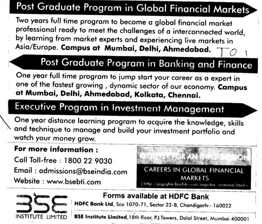 Post Graduate Program in Banking and Finance etc (BSE Training Institute)
