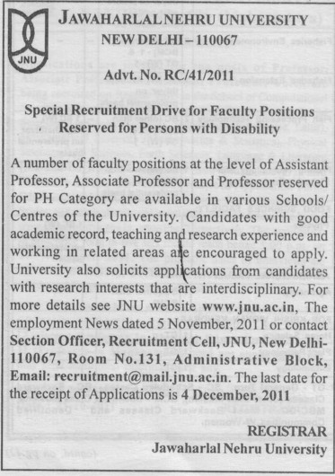 Professor, Asstt Professor and Associate Professor (Jawaharlal Nehru University)
