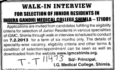 Junior Residents (Indira Gandhi Medical College (IGMC))