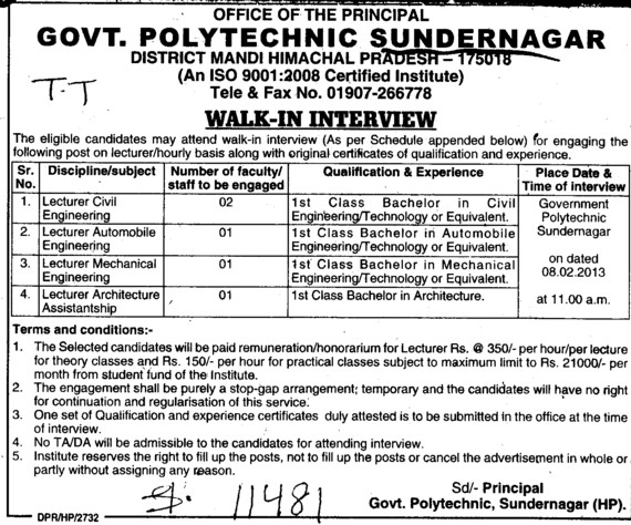 Lecturer in Civil Engg and Mechanical Engg  etc (Government Polytechnic College)