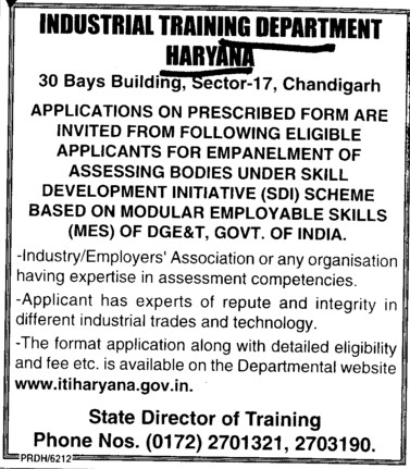 Empanelment of assessing bodies under SDI (Department of Industrial Training and Vocational Education Haryana)