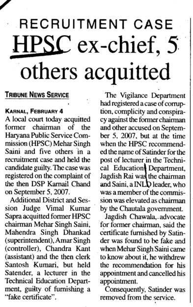 HPSC ex chief, 5 others acquitted (Haryana Public Service Commission (HPSC))