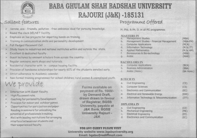 M Phill and PhD Programmes etc (Baba Ghulam Shah Badshah University)