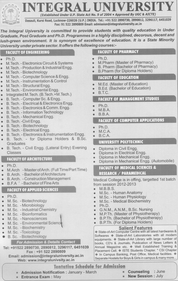 BFA, BCA, BBA, MA and PhD Programmes etc (Integral University)