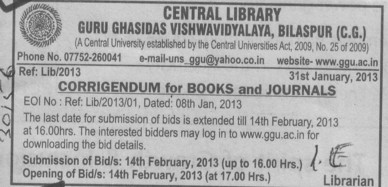 Books and Journals (Guru Ghasidas University)
