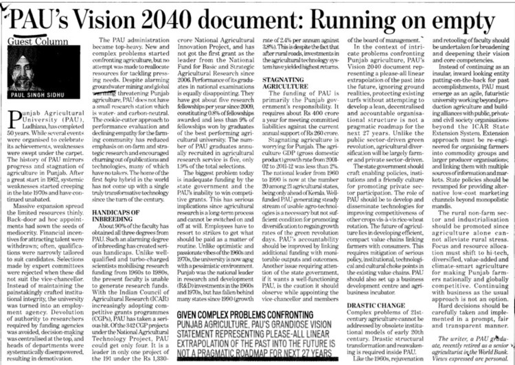PAUs vision 2040 document, running on empty (Punjab Agricultural University PAU)