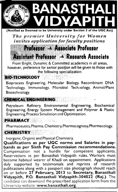 Professor, Asstt Professor and Research Associate etc (Banasthali University Banasthali Vidyapith)