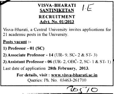 Professor, Asstt Professor and Associate Professor (Visva Bharati University)