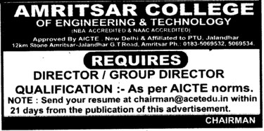 Director and Group Director (Amritsar College of Engineering and Technology ACET Manawala)