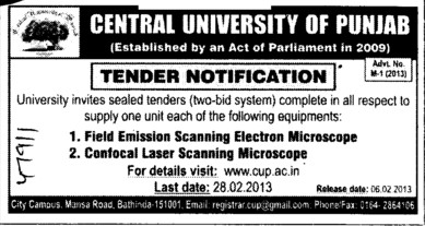 Field Emission Scanning Electron Microscope etc (Central University of Punjab)