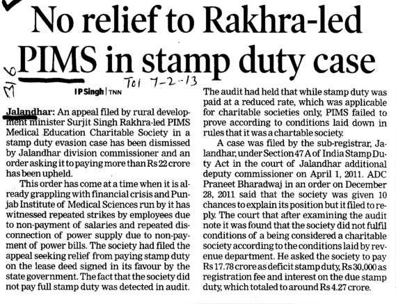 No relief to Rakhra led PIMS in stamp duty case (Punjab Institute of Medical Sciences (PIMS))