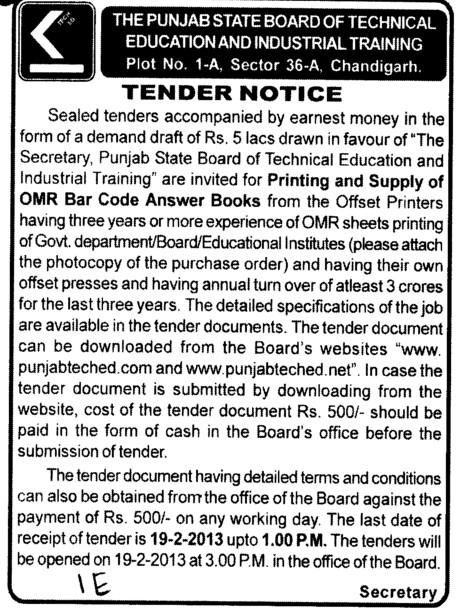 Printing and Supply of OMR bar code answer sheets (Punjab State Board of Technical Education (PSBTE) and Industrial Training)