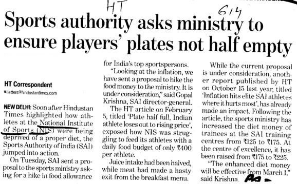 Sports authority asks ministry to ensure players plates not half empty (Netaji Subhas National Institute of Sports (NIS))