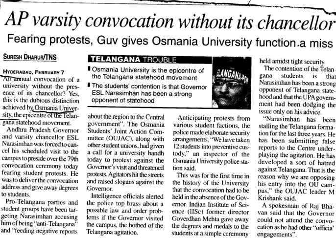 AP varsity convocation without its chancellor (Osmania University)
