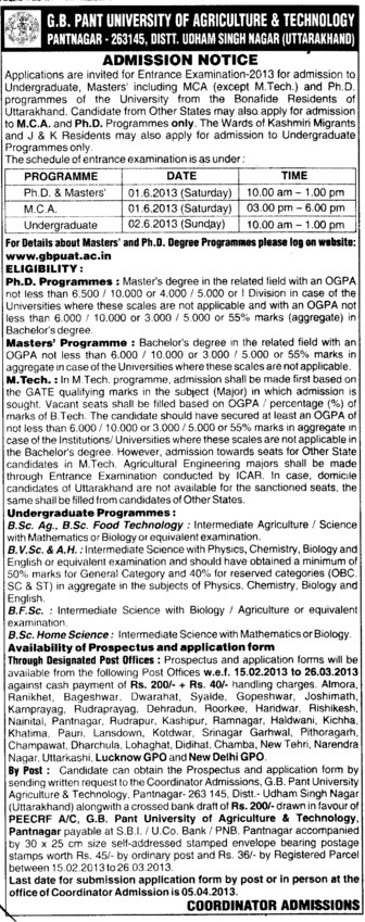 PhD and MCA Programme etc (Govind Ballabh Pant University of Agriculture and Technology GBPUAT)