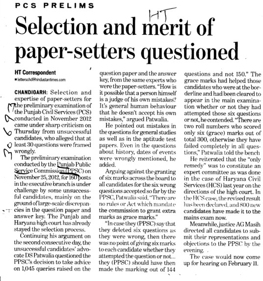 Selection and merit of paper setters questioned (Punjab Public Service Commission (PPSC))