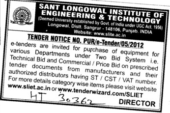 Purchase of Equipments for various departments (Sant Longowal Institute of Engineering and Technology SLIET)