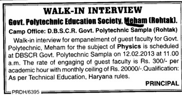 Guest Faculty for Physics (Government Polytechnic)