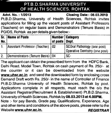 Asstt Professor and Demontrators (Pt BD Sharma University of Health Sciences (BDSUHS))
