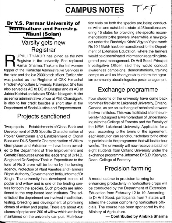 Exchange Program and Precision farming etc (Dr Yashwant Singh Parmar University of Horticulture and Forestry)