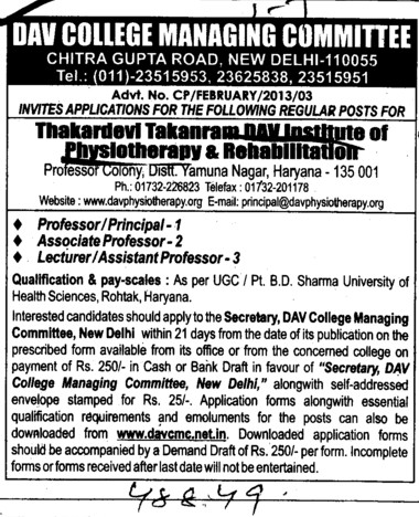 Professor, Asstt Professor and Associate Professor (DAV College Managing Committee)